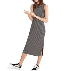 Madewell Striped Ribbed Mockneck Midi Dress Black